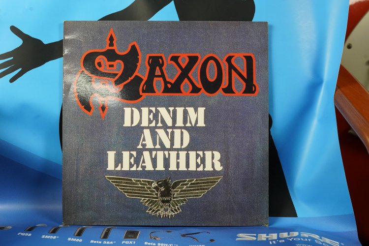 SAXON LP DENIM AND LEATHER / CARRERE 67811 FRANCE 1981